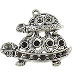 Zinc Alloy Pendant Rhinestone Setting Turtle antique silver color plated hollow nickel lead   cadmium free 42x36x5mm Hole:Approx 2.8mm Inner Diameter:Approx 1.5 2.5mm Approx 120PCs/KG