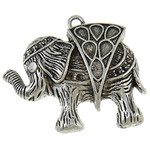 Zinc Alloy Pendant Rhinestone Setting Elephant antique silver color plated lead   cadmium free 53x57x8.50mm Hole:Approx 4.5mm Inner Diameter:Approx 2 5x8mm