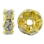 Rhinestone Spacers, Donut, gold color plated, Crystal, 6x6x3mm, Hole:Approx 1.2mm, 1000PCs/Bag, Sold By Bag