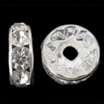 Rhinestone Spacers, Donut, silver color plated, Crystal, 6x6x3mm, Hole:Approx 1.2mm, 1000PCs/Bag, Sold By Bag