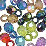 Acrylic Pendants, Round, AB color plated, translucent, mixed colors, 13x7mm, Hole:Approx 3.5mm, 5KG/Lot, Sold By Lot