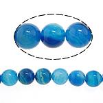 الطبيعية الخرز العقيق الرباط, الدانتيل العقيق, جولة, أزرق, 14mm, حفرة:تقريبا 1.5mm, طول:تقريبا 15 بوصة, 5جدائل/حقيبة, تباع بواسطة حقيبة