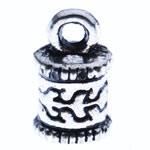 Końcówka ze stopu cynku, Stop cynku, Platerowane kolorem starego srebra, bez zawartości niklu, ołowiu i kadmu, 10x6x2.50mm, otwór:około 2mm, około 1250komputery/KG, sprzedane przez KG