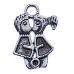 Character Shaped Zinc Alloy Pendants, antique silver color plated, nickel, lead & cadmium free, 23x15x2mm, Hole:Approx 3mm, Approx 700PCs/KG, Sold By KG