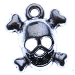 Zinc Alloy Skull Pendants, antique silver color plated, Imitation Antique, nickel, lead & cadmium free, 13x14x4.50mm, Hole:Approx 2mm, Approx 1400PCs/KG, Sold By KG