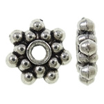 Zinc Alloy Spacer Beads, Flower, antique silver color plated, nickel, lead & cadmium free, 8x8.50x2mm, Hole:Approx 2mm, Approx 2500PCs/KG, Sold By KG