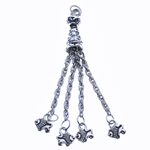 Zinc Alloy Chain Tassel, antique silver color plated, nickel, lead & cadmium free, 73x9mm, Hole:Approx 2.5mm, Length:2.8 Inch, Sold By PC