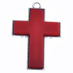 Wisior ze stopu cynku w kształcie krzyża, Stop cynku, ze żywica, Platerowane kolorem starego srebra, czerwony, bez zawartości niklu, ołowiu i kadmu, 82x54x8mm, otwór:około 6mm, sprzedane przez PC