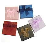 Kartonowe pudełko na zestaw biżuterii, Tektura, wisiorek & Pierścień & bransoletka & kolczyk & naszyjnik, Kwadrat, mieszane kolory, 90x90x30mm, 24komputery/wiele, sprzedane przez wiele
