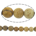 Natural Picture Jasper Beads, Round, rattan yellow, 4mm, Length:Approx 16 Inch, 10Strands/Lot, Approx 101PCs/Strand, Sold By Lot