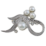 Freshwater Pearl Brooch, with Brass, Bowknot, with rhinestone, white, 51x36x15mm, Sold By PC
