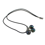 Natural Freshwater Pearl Necklace with Rubber brass clasp Round black 9-10mm Sold Per 17 Inch Strand