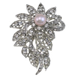 Freshwater Pearl Brooch, Rhinestone, with Freshwater Pearl & Brass, Flower, with rhinestone, silver, 50x70x20mm, Sold By PC