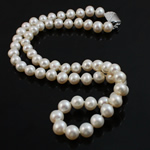 Natural Freshwater Pearl Necklace, brass bayonet clasp, Round, white, 8-9mm, Sold Per 16.5 Inch Strand
