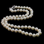 Natural Freshwater Pearl Necklace, brass clasp, Round, white, 5-6mm, Sold Per 17 Inch Strand