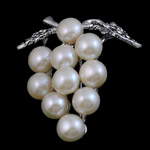 Freshwater Pearl Brooch, with Brass, Grape, white, 39x35x15mm, Sold By PC