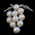 Broszka z pereł słodkowodnych, Perła naturalna słodkowodna, ze Mosiądz, Winogrono, biały, 39x35x15mm, sprzedane przez PC