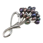 Freshwater Pearl Brooch, with Brass, Flower, with rhinestone, black, 6-7mm, 64x50mm, Sold By PC