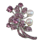 Freshwater Pearl Brooch, Brass, with Freshwater Pearl, Flower, platinum color plated, with rhinestone, more colors for choice, nickel, lead & cadmium free, 50x36x12mm, Sold By PC