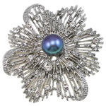 Freshwater Pearl Brooch, Brass, with Freshwater Pearl, Flower, platinum color plated, with rhinestone, more colors for choice, nickel, lead & cadmium free, 56x62x18mm, Sold By PC
