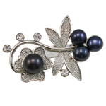 Freshwater Pearl Brooch, with Brass, Flower, with rhinestone, black, 47x32x13mm, Sold By PC