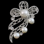 Freshwater Pearl Brooch, with Brass, Flower, with rhinestone, white, 40x53x18mm, Sold By PC
