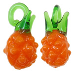 Plants Lampwork Pendants, Pineapple, orange, 21.50x10mm, Hole:Approx 5x2.5mm, 200PCs/Bag, Sold By Bag