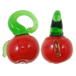 Plants Lampwork Pendants, Vegetable, red, 16x12x10.50mm, Hole:Approx 3.5x4mm, 200PCs/Bag, Sold By Bag