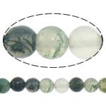 Luonnollinen Moss akaatti helmet, Pyöreä, 4mm, Reikä:N. 0.8-1mm, Pituus:N. 15 tuuma, 10säikeet/erä, Myymät erä