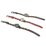 Unisex Wrist Watch, Zinc Alloy, with Leather, plated, mixed, nickel, lead & cadmium free, 24.5-28.8x30-41x10-11mm, Length:Approx 9.5 Inch, 5Strands/Lot, Sold By Lot