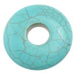 Wisiorek z turkusem, Turkus syntetyczny, Płaskie koło, jasnoniebieski, 40x40x6mm, otwór:około 10.5mm, 50komputery/wiele, sprzedane przez wiele