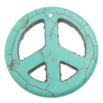 Turquoise Pendant, Peace Logo, turquoise blue, 34x34x4mm, Hole:Approx 1.2mm, 100PCs/Lot, Sold By Lot