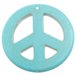 Turquoise Pendant, Peace Logo, light blue, 55x55x5mm, Hole:Approx 1.2mm, 50PCs/Lot, Sold By Lot