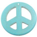 Wisiorek z turkusem, Turkus syntetyczny, Logo Peace (pokój), jasnoniebieski, 55x55x5mm, otwór:około 1.2mm, 50komputery/wiele, sprzedane przez wiele