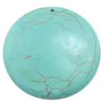 Turquoise Pendant, Flat Round, turquoise blue, 48x48x9.50mm, Hole:Approx 1.2mm, 30PCs/Lot, Sold By Lot