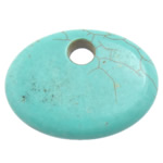 Turquoise Pendant, Flat Oval, turquoise blue, 59x44x9mm, Hole:Approx 10mm, 30PCs/Lot, Sold By Lot