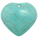 Turquoise Pendant, Heart, turquoise blue, 38x35x10mm, Hole:Approx 3mm, 50PCs/Lot, Sold By Lot