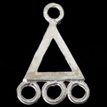 925 Sterling Silver Connectors, Triangle, 1/3 loop, 8.50x13x0.70mm, Hole:Approx 1.2mm, 10PCs/Bag, Sold By Bag