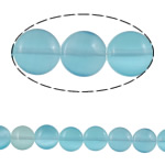 Cats Eye Jewelry Beads Rond plat lichtblauw 10x4.50mm Gat:Ca 1mm Ca 38pC's/Strand Per verkocht Ca 15.3 inch Strand