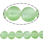 Cats Eye gioielli perline, occhi di gatto, Cerchio piatto, verde, 10x4mm, Foro:Appross. 1mm, Appross. 37PC/filo, Venduto per Appross. 14.9 pollice filo