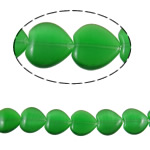 Cats Eye gioielli perline, occhi di gatto, Cuore, verde, 16x15.50x5mm, Foro:Appross. 1mm, Appross. 22PC/filo, Venduto per Appross. 14.1 pollice filo