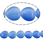 Cats Eye Jewelry Beads Hart blauw 20x20x6mm Gat:Ca 2mm Ca 19pC's/Strand Per verkocht Ca 14.9 inch Strand