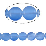 Cats Eye Jewelry Beads Rond plat blauw 10x4mm Gat:Ca 1mm Ca 39pC's/Strand Per verkocht Ca 15.6 inch Strand