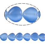 Cats Eye Jewelry Beads Hart blauw 12x12x5mm Gat:Ca 1mm Ca 30pC's/Strand Per verkocht Ca 14.2 inch Strand