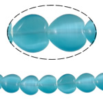 Cats Eye Jewelry Beads Hart blauw 10x10x4mm Gat:Ca 1mm Ca 36pC's/Strand Per verkocht Ca 14.4 inch Strand
