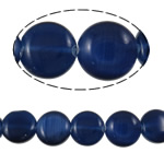 Cats Eye Jewelry Beads, Flat Round, dark blue, 8x3mm, Hole:Approx 1mm, Approx 48PCs/Strand, Sold Per Approx 15.2 Inch Strand