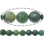 Agate Beads, Moss Agate, Round, faceted, 10mm, Hole:Approx 2mm, Length:Approx 16 Inch, 5Strands/Lot, Approx 38PCs/Strand, Sold By Lot