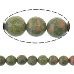 Natural Unakite Beads, Round, faceted, 12mm, Hole:Approx 1.2mm, Length:Approx 15 Inch, 5Strands/Lot, Approx 31PCs/Strand, Sold By Lot