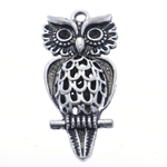 Zinc Alloy Pendant Rhinestone Setting Owl antique silver color plated nickel lead   cadmium free 41x18x8.50mm Hole:Approx 2.5mm Inner Diameter:Approx 3mm