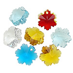 Crystal Pendants, Flower, mixed colors, 12.50x14x8.50mm, Hole:Approx 1mm, 10PCs/Bag, Sold By Bag